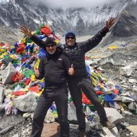 2 Hikers at Field Everest Base Camp.