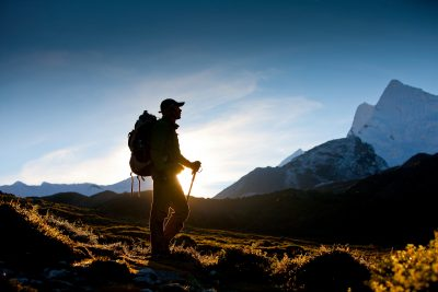 Silhouette of a hiker in Himalaya mountains