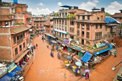 The present appearance of city street in Bhaktapur, Nepal.