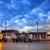 Jokhang monastery at twilight in Lhasa, Tibet
