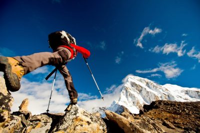 Hiker in the Himalayan mountains