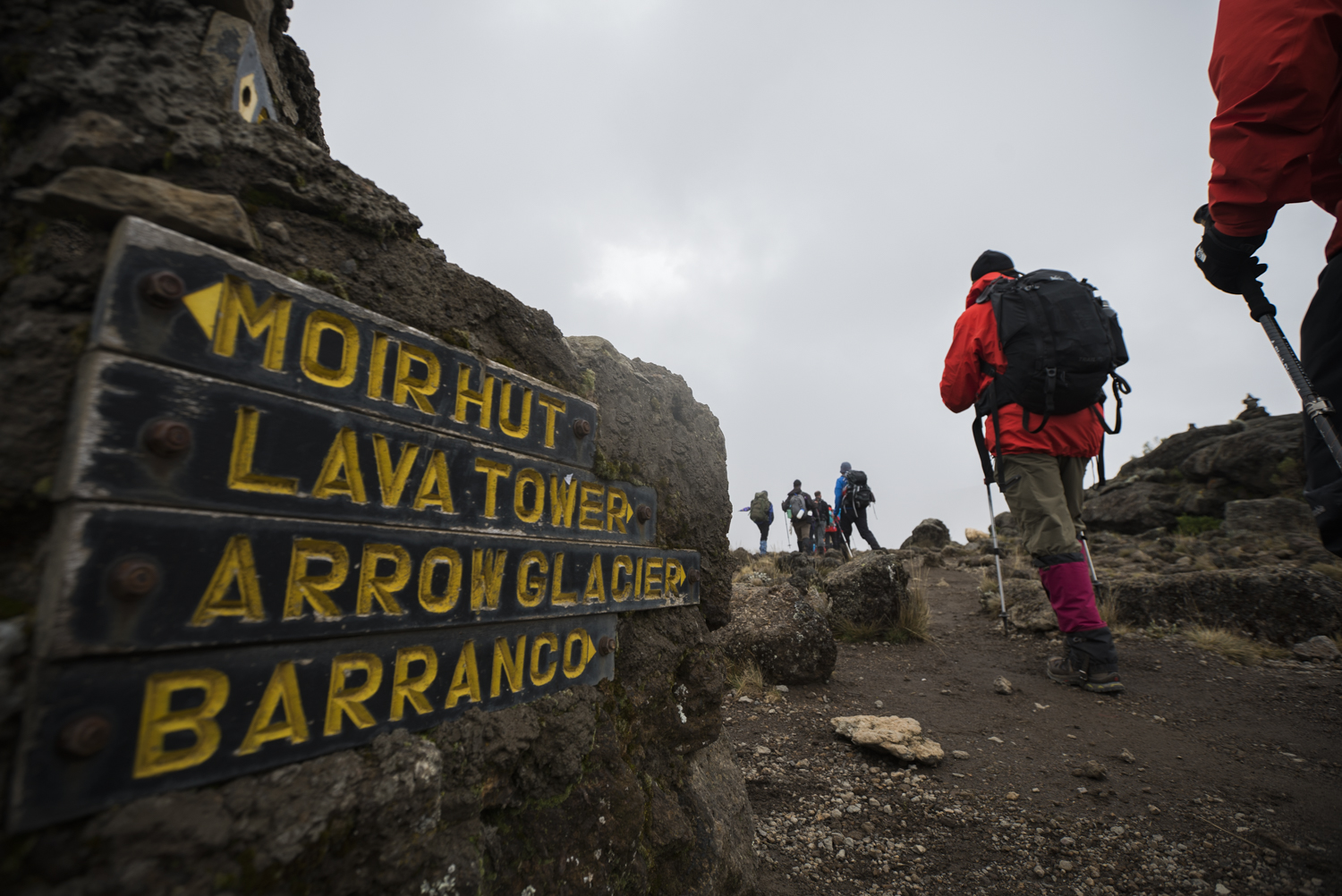 A sign points the way on Mt. Kilimanjaro.