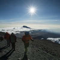 Hikers making their way up Mt. Kilimanjaro.