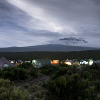 Tents below Mt. Kilimanjaro.