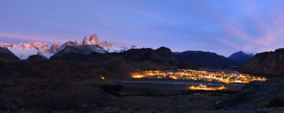 Fitz Roy Mountain and El Chalten at dawn, Patagonia, Argentina.