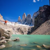 A beautiful green alpine lake in a range in Patagonia